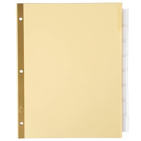 tabletop king 11112 big tab buff paper 8 tab clear insertable dividers