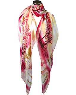 bead39956cbcc OUKIN Women Lady Fashion Colorful Floral Long Soft Chiffon Scarf Shawl Wrap  Stole Beach CoverScarves Gift