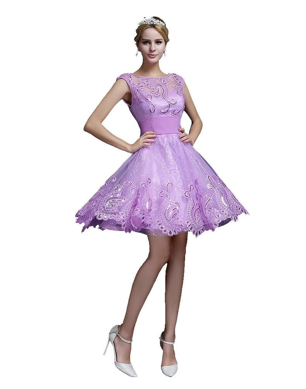 Beauty-Emily Mini Backless Short Sleeve See-Through Lace Hem Cocktail Dress