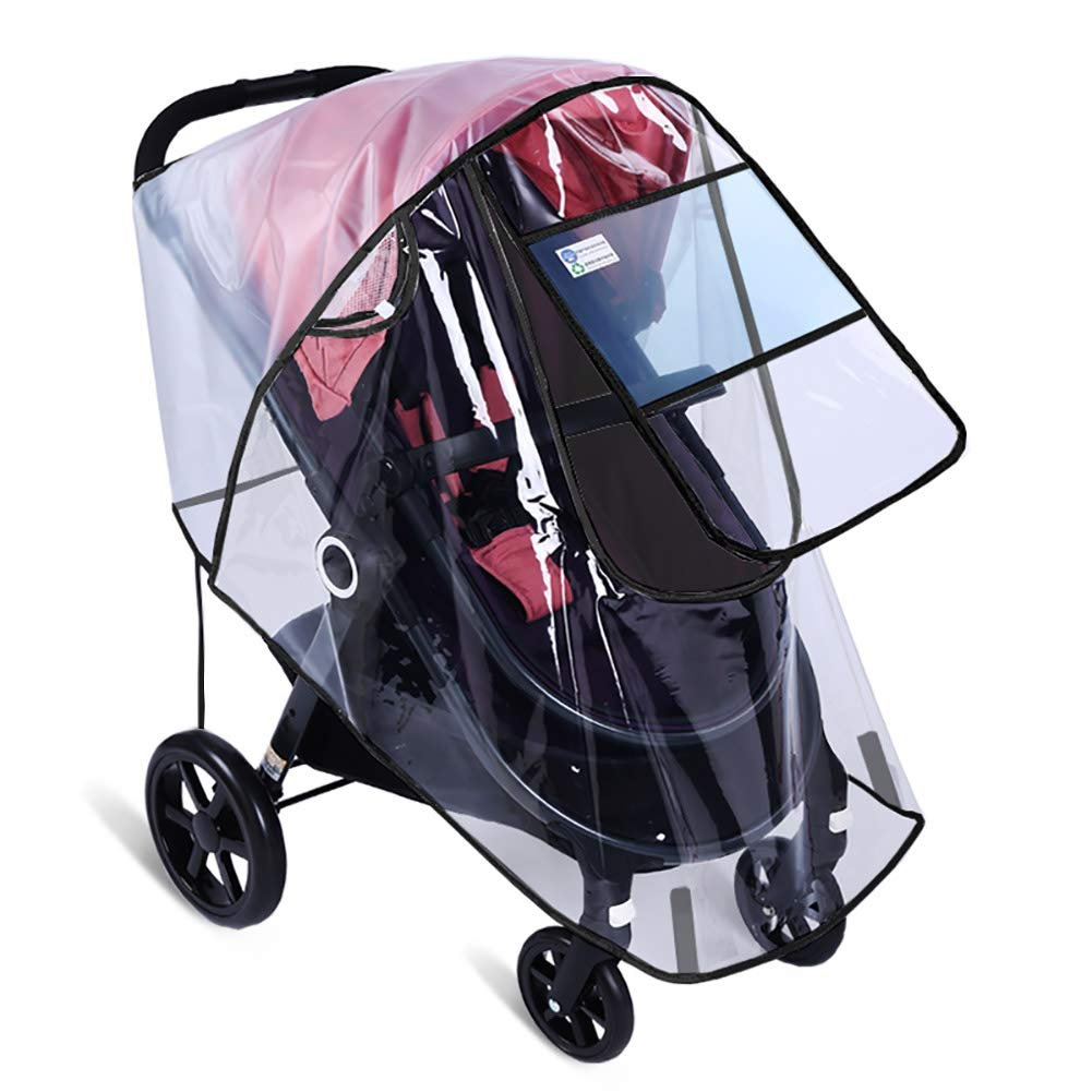 Stroller Rain Cover by Hombae, Universal Baby Stroller Weather Shield, Waterproof Stroller Cover, Travel Umbrella Stroller Wind Dust Shield, Stroller Cover for Rain, Food Grade EVA, Eye Protect by Hombae