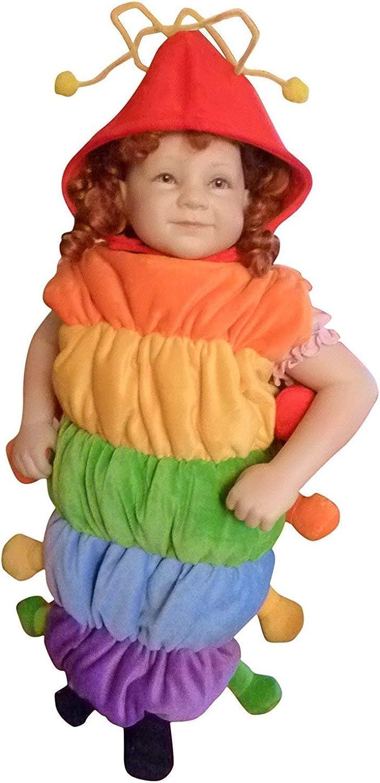 Seruna Disfraz de oruga F83, talla 86-116, para niños, niños pequeños y bebés, oruga, disfraz de carnaval, regalo de cumpleaños