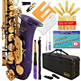 Lazarro 360-PR E-Flat Eb Alto Saxophone Purple-Gold Keys with Case, 11 Reeds, Care Kit and Many Extras