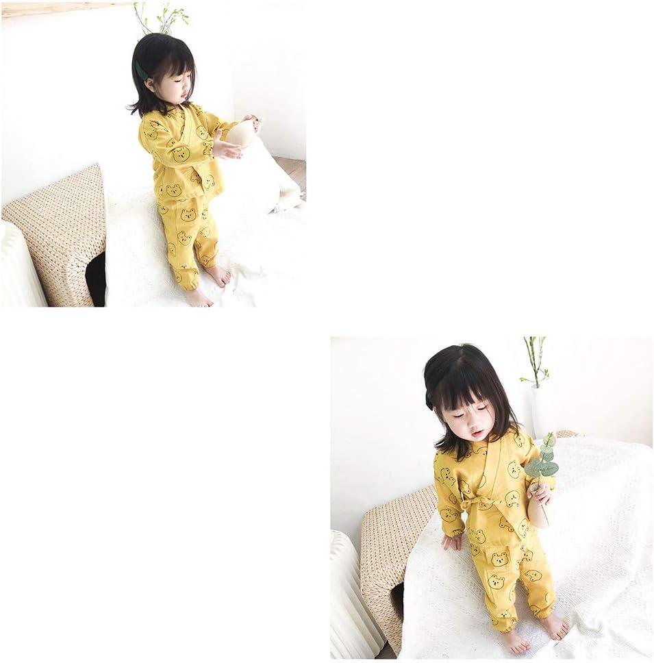 Baby Sleepwear Set Japanese Cotton Pajamas Set Kimono Shirt with Cartoon Bear Printed Pants Set for Infant Toddlers Child 110cm Yellow 1Set