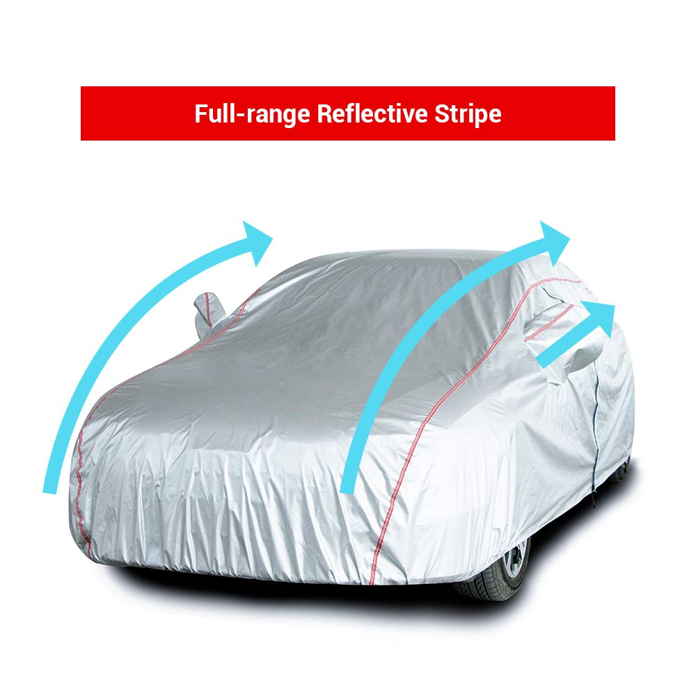 Tecoom Hard Shell Oxford Material Door Shape Zipper Design Waterproof UV-Proof Windproof Car Cover for All Weather Indoor Outdoor Fit 201-218 inches Sedan