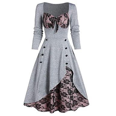Vestido de Fiesta de Talla Grande para Mujer Encaje con Flores y ...