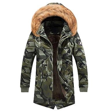 MODOQO Winter Warm Coat for Men Plus Size Camo Long Trench Zipper Hooded Jacket(Army