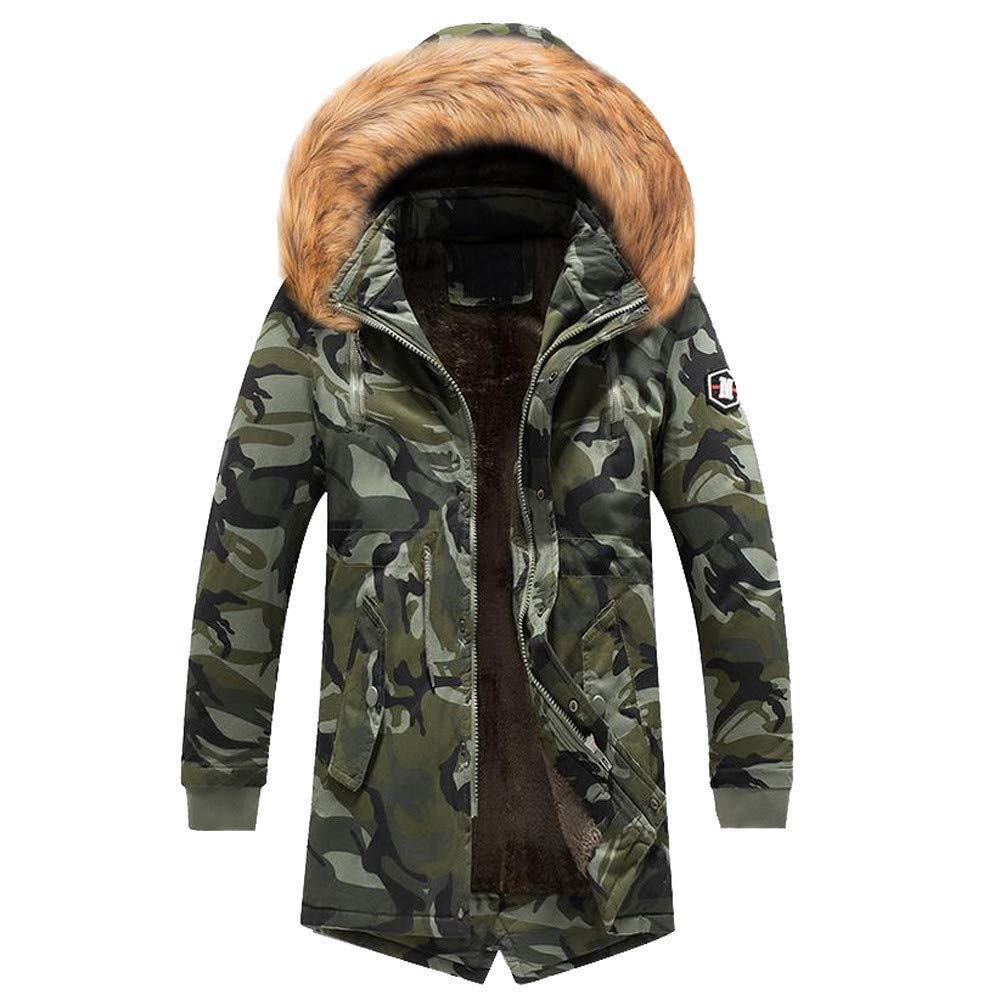 YKARITIANNA Men Hunting Jackets, Winter Spring Comfy Camouflage Warm Jacket Overcoat Slim Long Trench Buttons Coat
