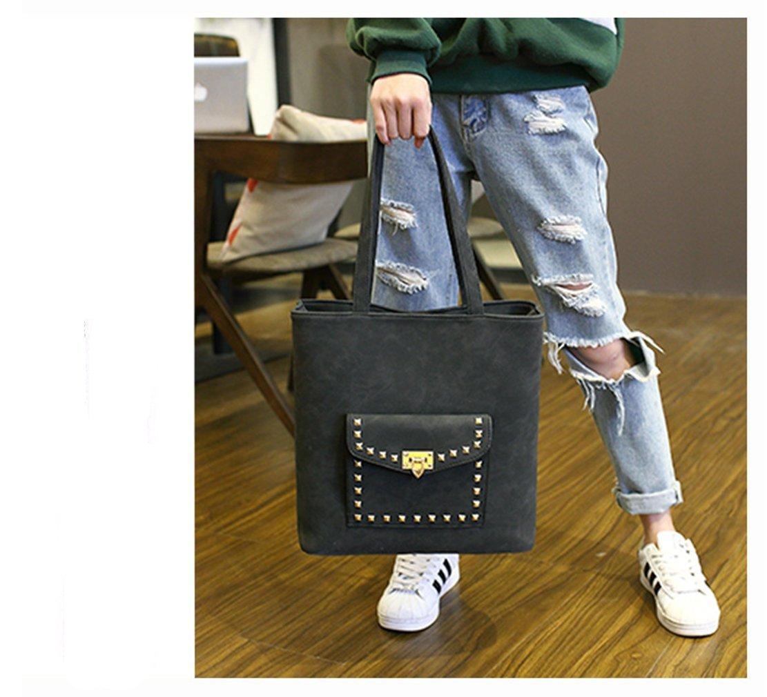 Rrock Female Tasche Nieten Sperre Scrub Scrub Scrub Mobile Große Kapazität Zwei Farben,schwarz B07D4GLLXD Umhngetaschen Sonderpreis f1f125