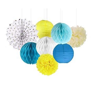 Lanterne Papier Boule Bleu Jaune Blanc Pompon de Soie Fleur ...