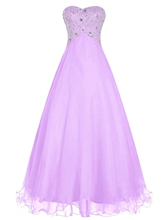 Dressystar Elegant Beaded Sweetheart Prom Dress Ball Gowm Lace-up Back Size 6 Lavender