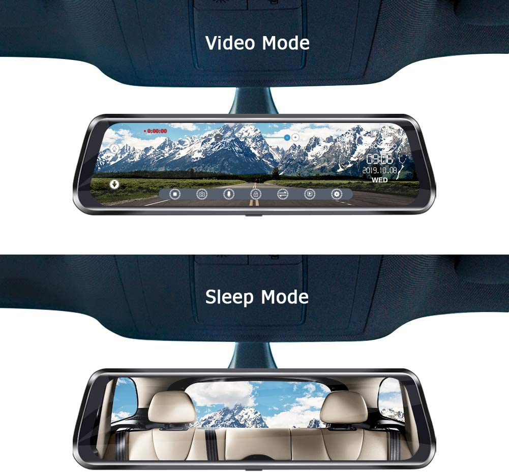 Rear View Mirror Dash Cam Front and Rear 1080P 10 IPS Full Touch Screen Video Streaming Mirror Dual Lens Backup Dash Camera for Cars with Reverse Assistance /& Super Night Vision Include 32G SD Card