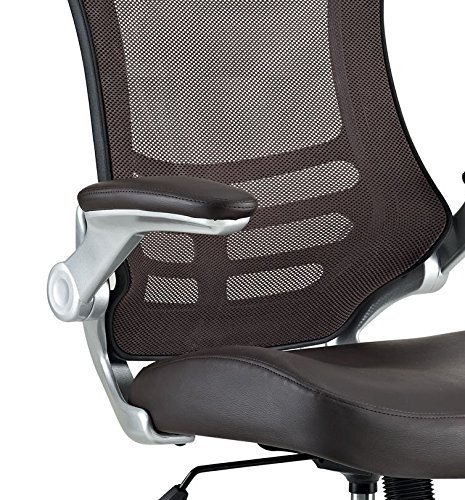 modway attainment mesh back and brown vinyl modern office chair with