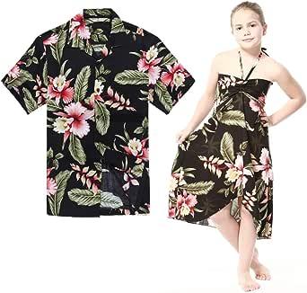 Combinación Hawaiana Luau Outfit Hombre Camisa Chica Vestido en Rafelsia Negro