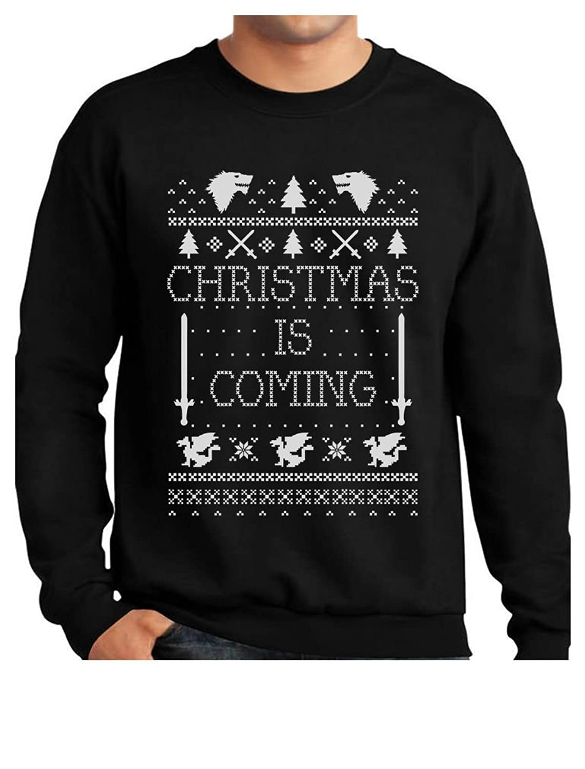 Christmas Is Coming Ugly Christmas Sweater Men's Sweatshirt with Xmas Prop