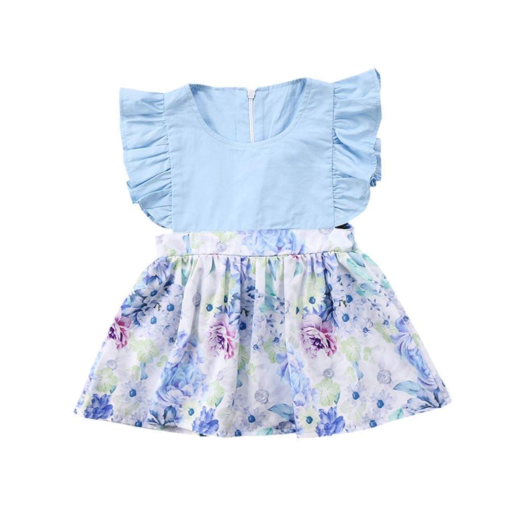 Kidoll Summer Casual Baby Girls Princess Pageant Sundress Floral Print Dress Cotton Kids Toddler Flare Sleeve