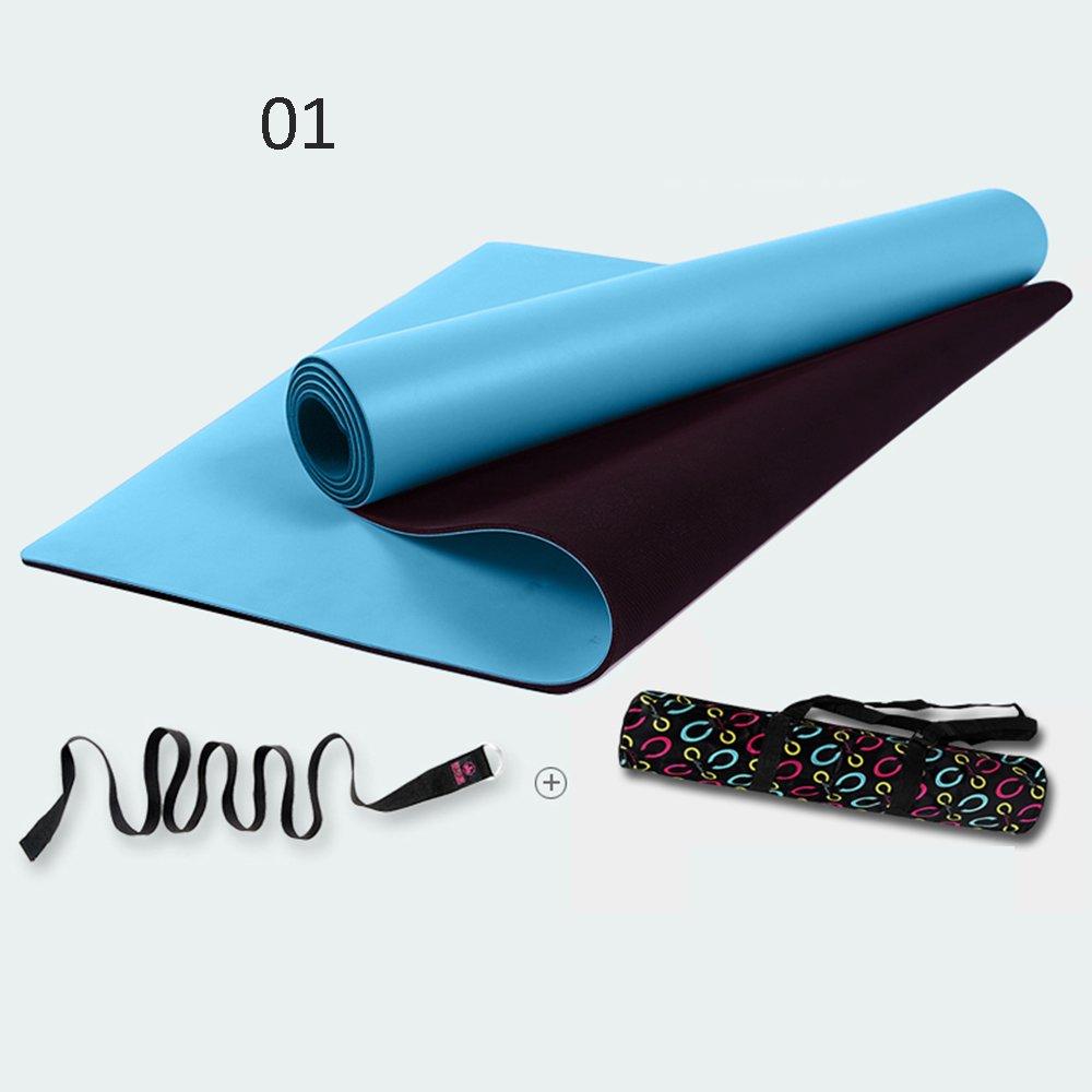 Bleu Pique-Nique Tapis de Yoga en Caoutchouc Naturel de 5 mm