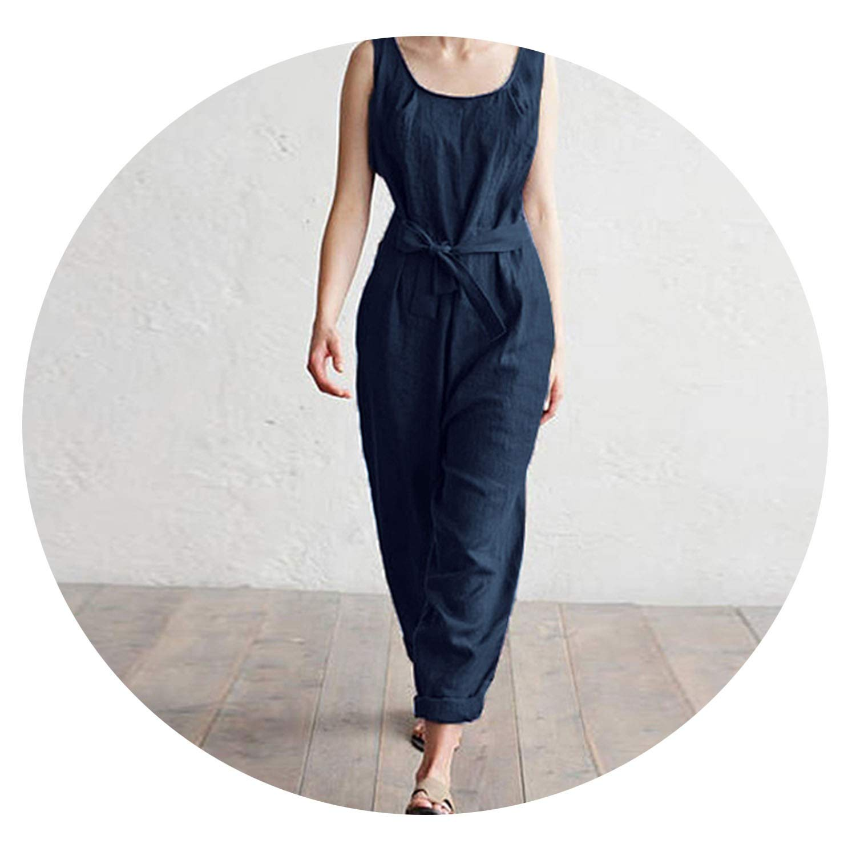 Women Jumpsuit Trouser Office Work Harem Pants Sleeveless Rompers Elegant Casual Linen Overalls