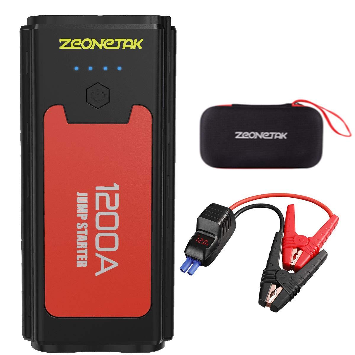1200A Auto Starthilfe , Zeonetak Tragbare Autobatterie Anlasser Power Pack (bis zu 7.2L Benzin, 5.2L Diesel) mit QC 3.0 Ausgang Jump Starter