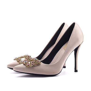 Yr R Damen High Heels Vintage Red Hochzeit Schuhe Tipps Seide Damen