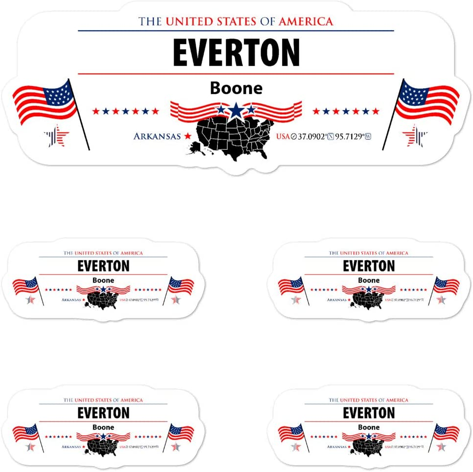 Everton Boone 5X Quality Individual Vinyl Stickers for Laptop, USA Patriotic American Flag Kiss-Cut, 1 Large 5.5x5.5 Inch and 4 Smaller Ones on Sheet Set, Pack