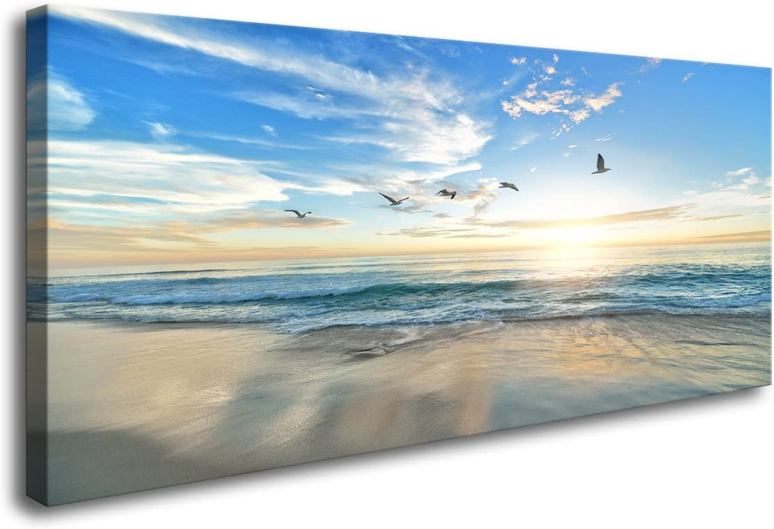 S02150 Wall Art Sunset Sea water Natural Scenery Painting on Canvas Stretched and Framed Canvas Paintings Ready to Hang for Home Decorations Wall Decor