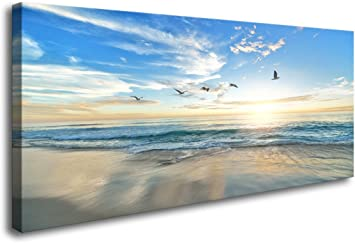 Large Sea Canvas Wall Art for Living Room Decoration Sunset Beach Canvas Artwork Waves Nature Canvas Pictures for Bedroom Office Home Wall Decor Framed Ready to Hang 60 x 120cm