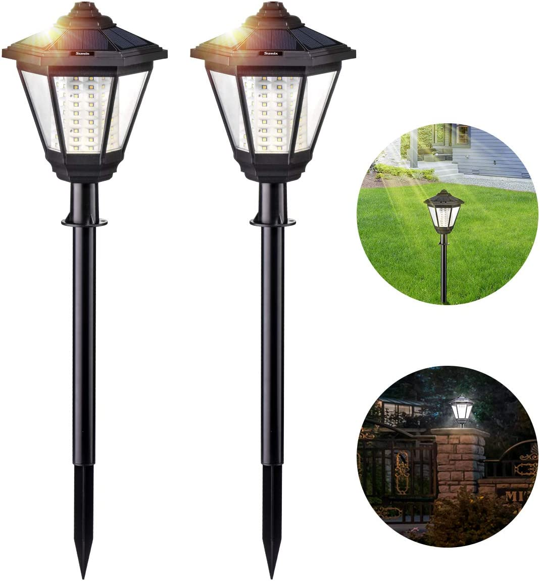 Solar Lights Outdoor, Sunix Radar Motion Sensor 108 LED Waterproof Garden Light Auto On Off Landscape Lighting for Pathway, Driveway, Patio, Yard Decoration 2 Pack