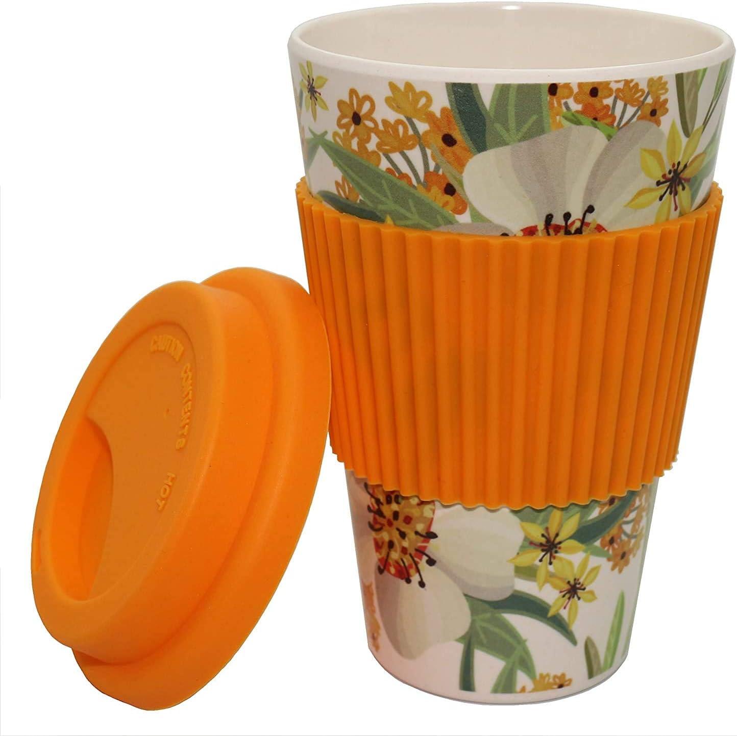 adatta per alimenti e lavastoviglie in bamb/ù con coperchio e custodia in silicone ROSA in bamb/ù con coperchio ermetico e foro per bere ecologica Tazza da caff/è in bamb/ù riutilizzabile 450 ml