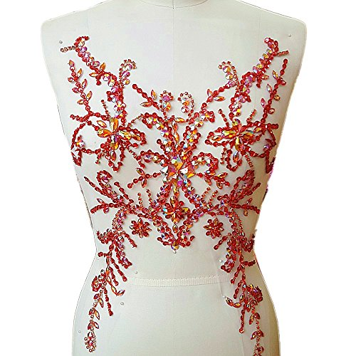 Collar Sequin Beaded Applique (Sumptuous Exquisite Embroidery Handmade Beaded Sequin AB Colour Sew on Rhinestones Applique Manual Collar Waist Costume Fine Motif Wedding Dress Trimming 28x49cm (red))