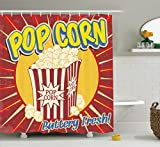 1950S Decor Shower Curtain Set By Ambesonne, Vintage Grunge Style Pop Corn Commercial Print Old Fashioned Cinema Movie Film Snack Artsy Work, Bathroom Accessories, 69W X 70L Inches, Multi