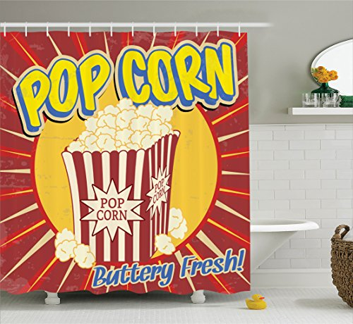 1950s Decor Shower Curtain Set by Ambesonne, Vintage Grunge Style Pop Corn Commercial Print Old Fashioned Cinema Movie Film Snack Artsy Work, Bathroom Accessories, 84 Inches Extralong, Multi (Snack Vintage)