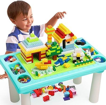 Mesa de Juego Bloques De Construcción para Niños Mesas Juegos De Rompecabezas Mesa Ensamblado Juguetes Niños Juguetes Regalos para Niños (Color : Light Blue, Size : 49 * 29.5 * 25cm): Amazon.es: Hogar