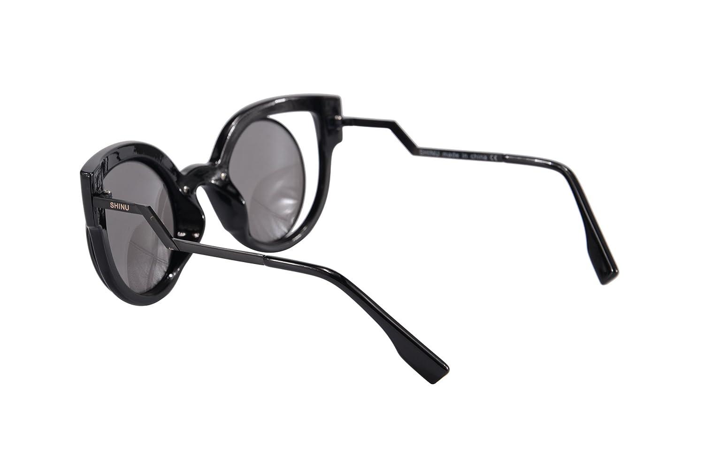 SHINU Grosses Montures Lunettes de Soleil pour Femmes Cut-out Flash Objectif Cat Eye Sunglasses-SH71016(blanc, argent)
