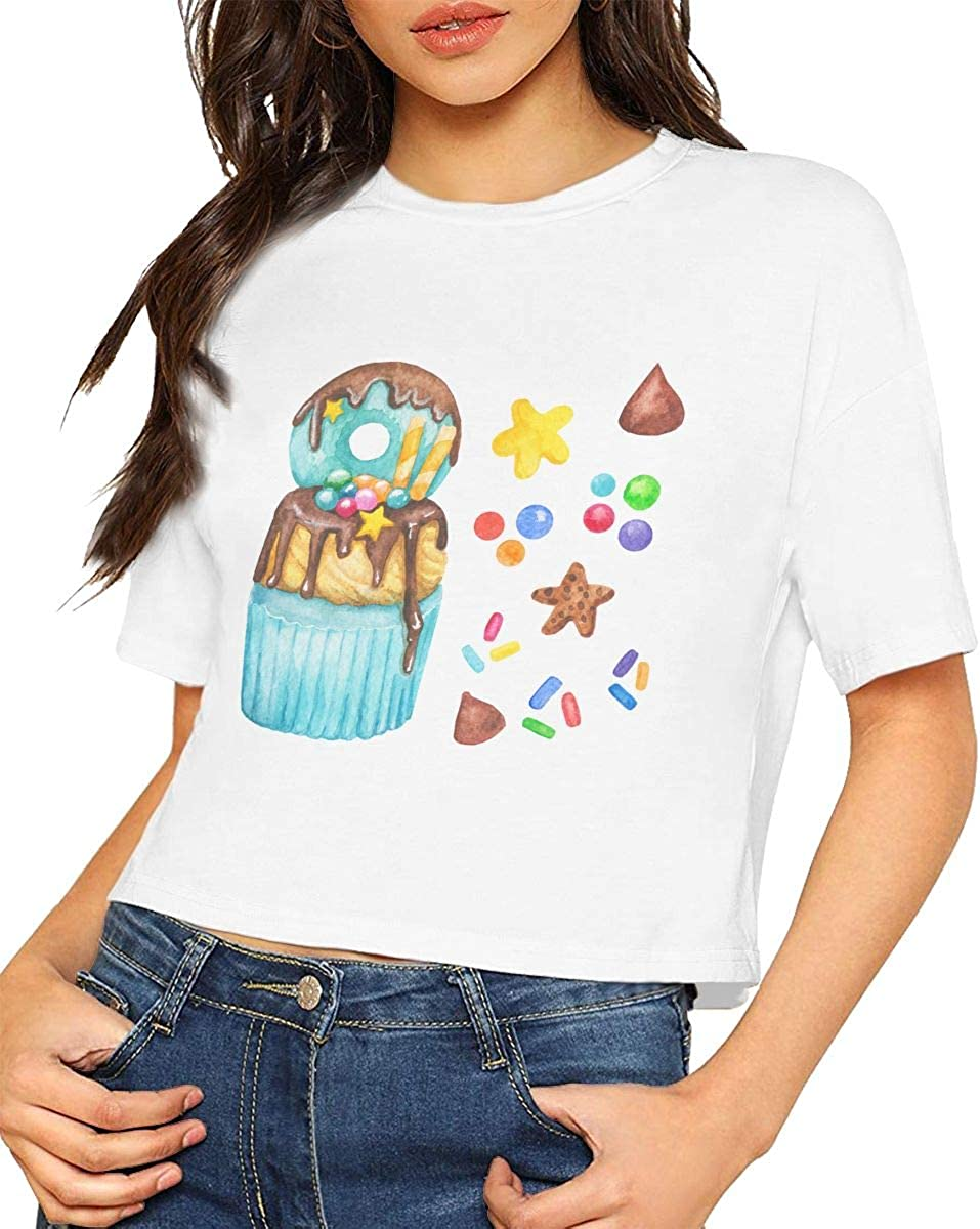 Qmad Womens Hot Cake Crop Top Tee T-Shirts Active Short Style Design Party Running Short-Sleeve Comfortable Tee White