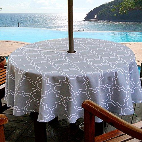 ColorBird Elegant Moroccan Outdoor Tablecloth Waterproof Spillproof Polyester Fabric Table Cover with Zipper Umbrella Hole for Patio Garden Tabletop Decor (60 Round, Zippered, Grey)