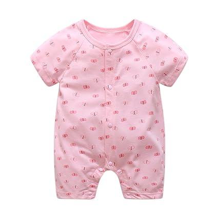 6a50fc7c37bb9 Mornyray ベビー服 新生児服 ロンパース 肌着 コットン 前開き 男の子 女の子 半袖 夏 size 59 (