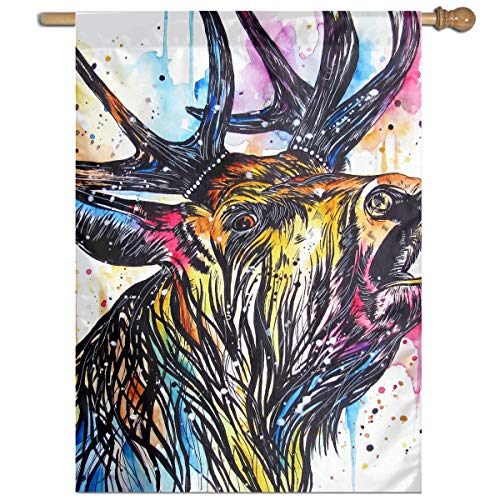 YUANSHAN Single Print Home Garden Flag Colorful Stag Cried Polyester Indoor/Outdoor Wall Banners Decorative Flag 27