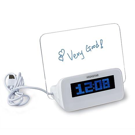 TOOGOO (R) LED reloj despertador digital Foro fluorescente Calendario Termometro 4port USB