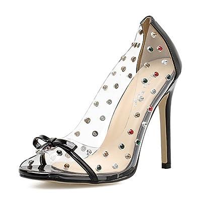 Damen Sexy Nieten Transparent Pfenningabsatz Riemchensandaletten Schwarz 35  EU SHOWHOW Zuverlässig Günstiger Preis DRZyyAayw d144457a7d