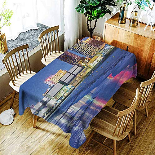 XXANS Large Rectangular Tablecloth,City,Resort Casinos on Shore at Night Atlantic City New Jersey United States,Dinner Picnic Table Cloth Home Decoration,W60X102L Violet Blue Pink -