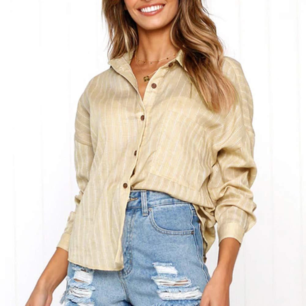 ❤ botón Largo de la Blusa para Mujer, botón Suelto Camisa Larga Vestido de algodón para Mujer Tops Casuales Camiseta Blusa Absolute: Amazon.es: Ropa y ...