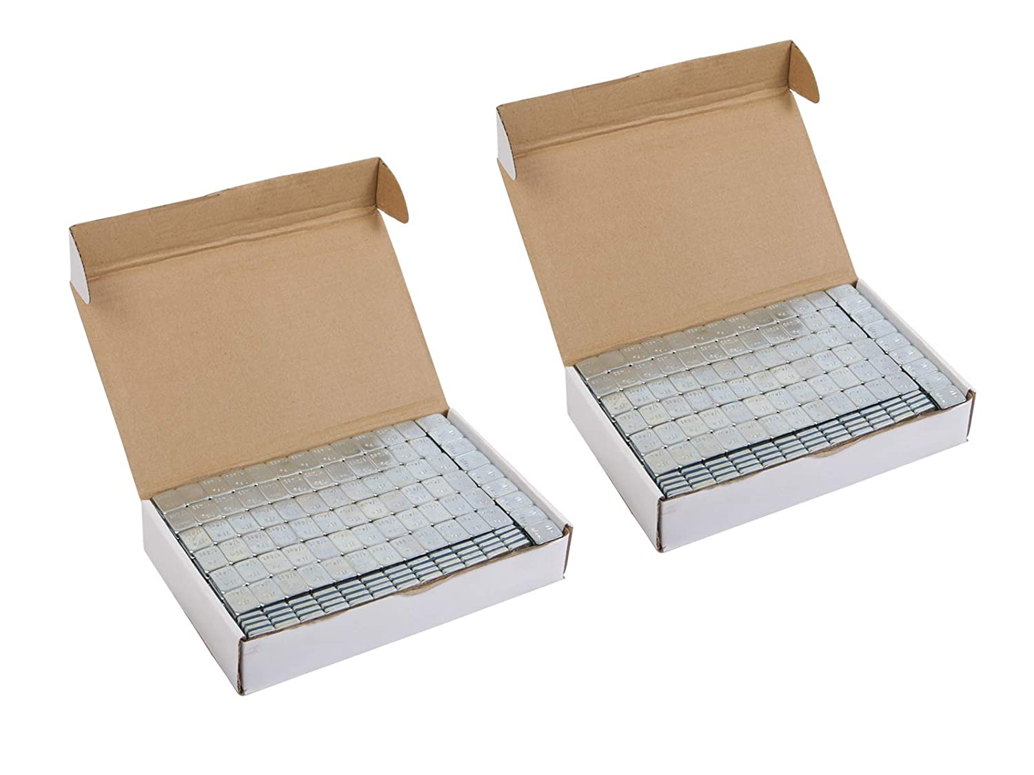 (2) Boxes of 1/4 ounce (0.25oz) Silver, Adhesive, Stick On Wheel Weights (Low Profile) - Zinc Plated (Lead Free) - 408oz (~26 lbs) total, 136 total 3-oz strips, 1632 total pieces Precision European Motorwerks