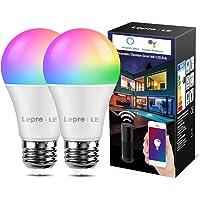 Lepro wifi-lamp E27, 9 W intelligente gloeilamp, Wifi, Alexa, 806 lm, RGB kleuren met warmwit, verbonden, WiFi…