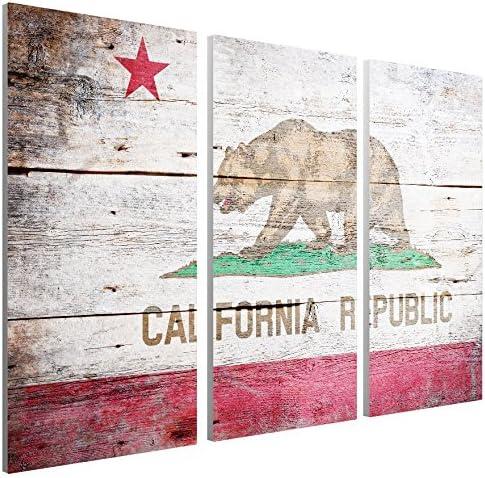 "Republic of California Vintage Flag Canvas Triptych Print 48/""x30/"""