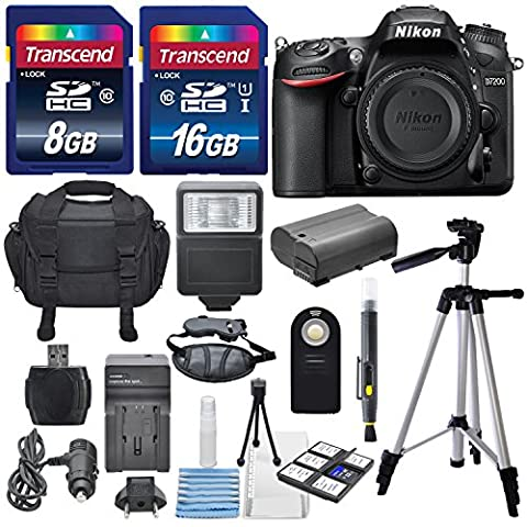 Nikon D7200 24.2MP CMOS Digital SLR Camera (BODY) Total of 24 GB SDHC Class10 +Extra Battery & AC/DC Turbo Travel Charger + Complete Deluxe Accessory Kit - International (Nikon D7200 Body)