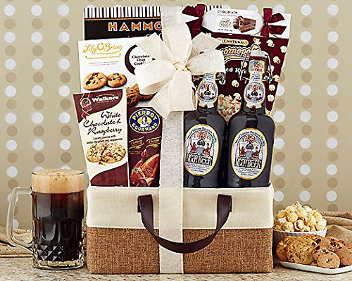 Gourmet Foods Gift Baskets, Virgil's Special Edition Mirobrewed Root Beer, Virgil's Special Edition Bavarian Nutmeg Root Beer Is Microbrewed in a 400 Year Old Bavarian Brewery, Made with the Finest All-natural Ingredients From Around the World: Anise, Licorice, Vanilla, Cinnamon, Clove, Sweet Birch, Wintergreen and Other Natural Herbs and Spices. Popcornopolis Kettle Corn, Chocolate Caramels, Walkers White Chocolate Raspberry Cookies, Caramel Lollipops, Peanut Brittle, Lily O'brien's Chocolate Chip Cookies and Two Bottles of Virgil's Award-winning Root Beer Make a Great Gift for Any Occasion. Gift Size: 12