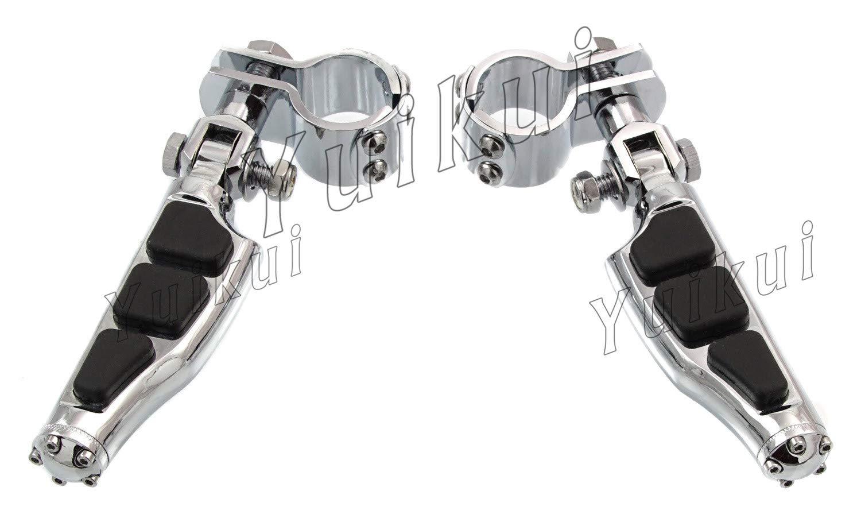 YUIKUI RACING オートバイ汎用 1-1/4インチ(32mm)/1インチ(25.4mm)エンジンガードのパイプ径に対応 ハイウェイフットペグ タンデムペグ ステップ YAMAHA XVS DRAG STAR ROAD STAR/YAMAHA XV VIRAGO/RAIDER等適用   B07Q2FCR75