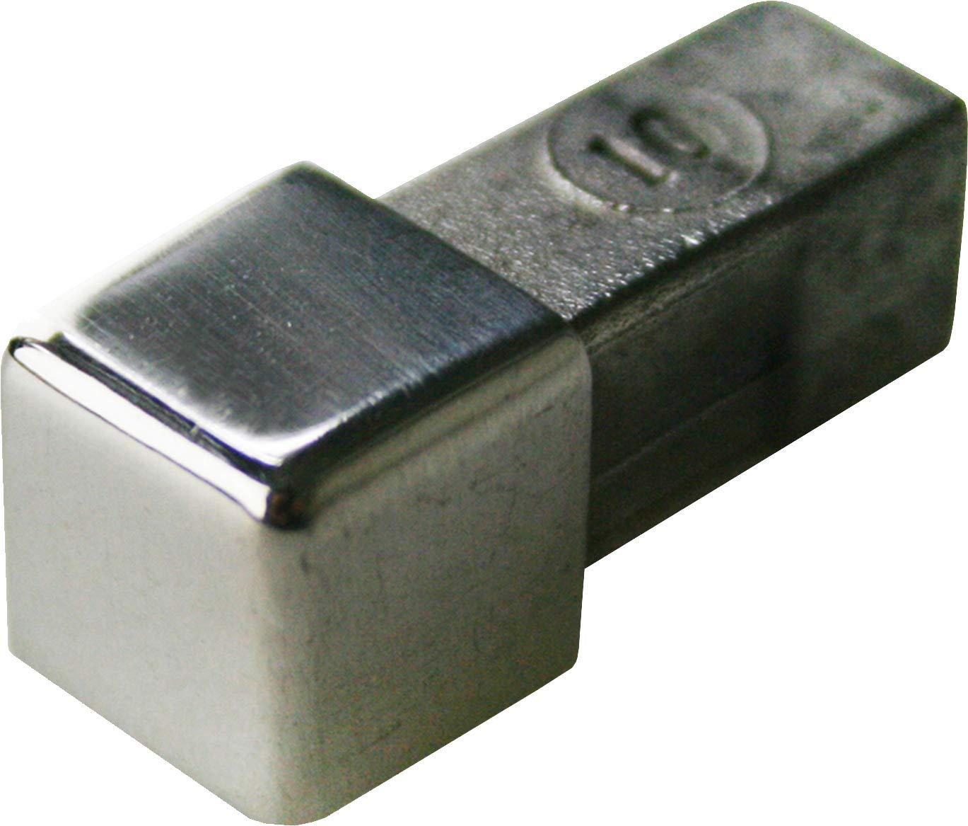 PREMIUM FUCHS Ecke kein Abbl/ättern m/öglich Vollmaterial H: 8mm Quadratprofil Edelstahl V2A Gl/änzend