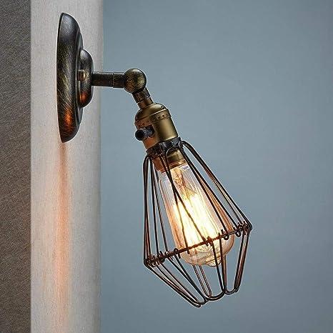 Sistema de lámpara de pared hierro retro jaula bombilla nostálgica ...