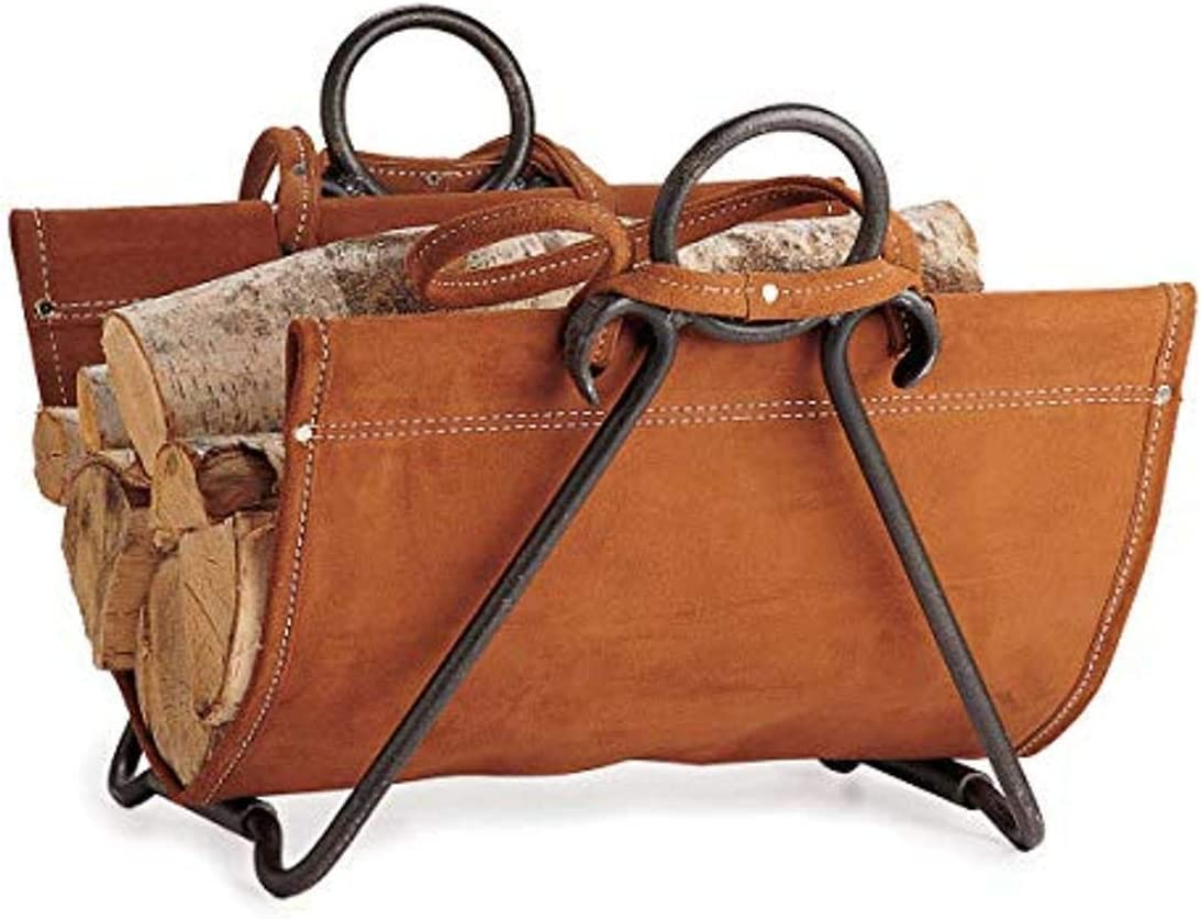 Pilgrim Home and Hearth 18517 Forged Iron Log Carrier, 29″W x 17.5″H x 14″D 9 lbs, Brown Suede